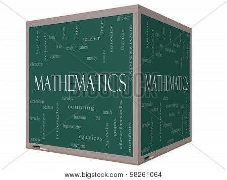 Mathematics Word Cloud Concept On A 3D Cube Blackboard