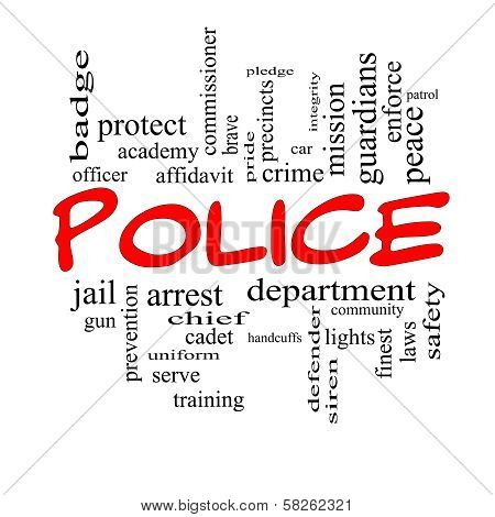 Police Word Cloud Concept In Red Caps