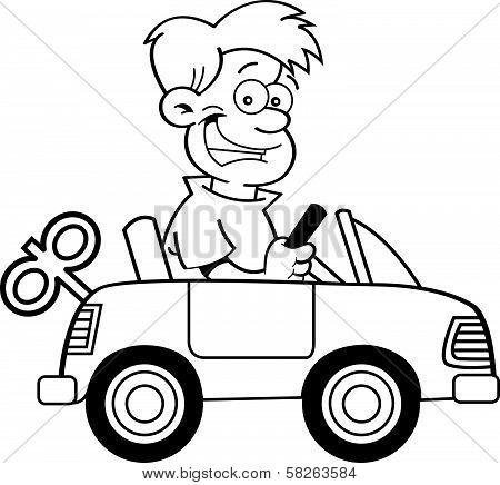 Cartoon boy with a toy car.