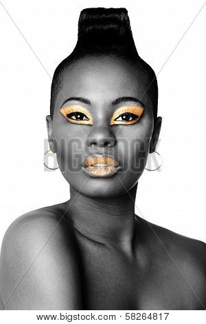 Black And Gold Beauty Face