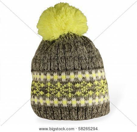 Knitted Hat With Yellow Pompon