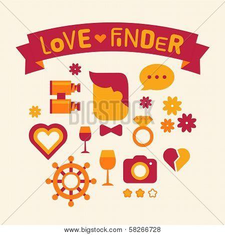 Set of icons love finder