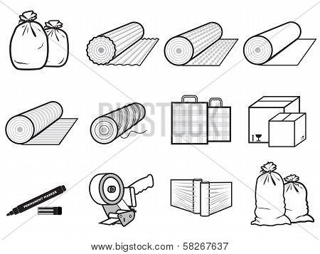 Icons Packages Of Goods: Bag, Boxes