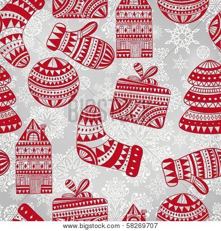 Vector  Bright Seamless Winter Pattern