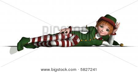 Santa's Elf Relaxes On An Edge