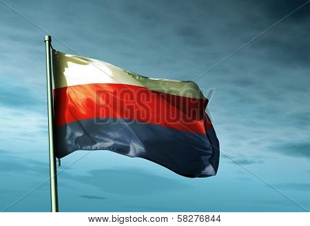 Bohemia and Moravia (1939-1945) flag waving in the evening