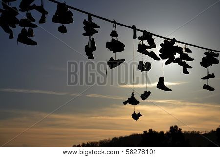 Shoes Hanging from Wire