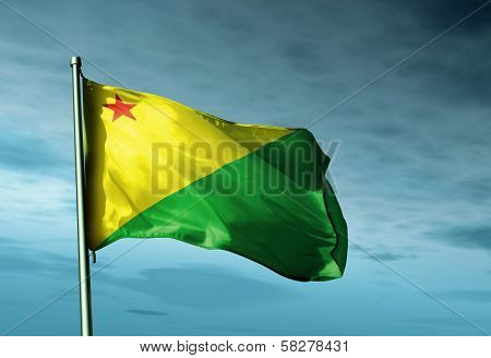 Acre (Brazil) flag waving in the evening