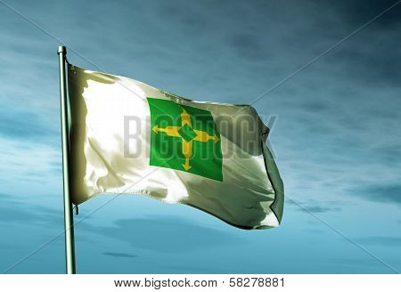 Distrito Federal (Brazil) flag waving in the evening