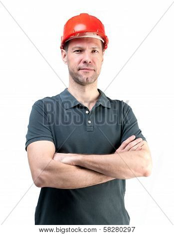 Portret Of Worker Man In Red Helmet Isolated On White Background
