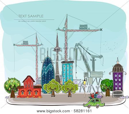 New city grows, Building site illustration