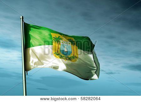 Rio Grande do Norte (Brazil) flag waving in the evening