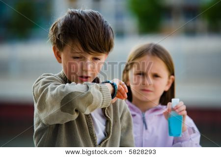 Children Flu Sneeze Elbow Sick