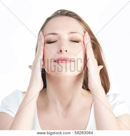 Portrait Of Woman Isolated On A White Background