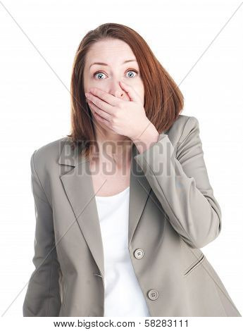 Woman In Shock Closing Mouth With His Hand Isolated On White