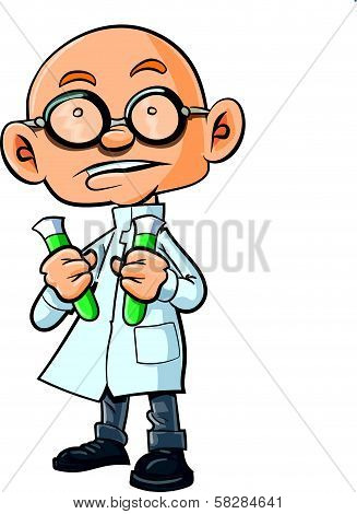 Cartoon bald scientist with two test tubes