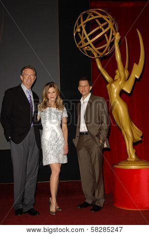 Dick Askin with Kyra Sedgwick and Jon Cryer at the 59th Primetime Emmy Awards Nominations Announcements. Leonard Goldstein Theater, Los Angeles, CA. 07-19-07