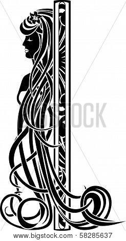 Decorative element in the art nouveau style