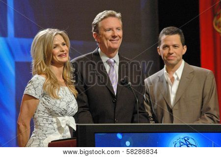 Kyra Sedgwick with Dick Askin and Jon Cryer at the 59th Primetime Emmy Awards Nominations Announcements. Leonard Goldstein Theater, Los Angeles, CA. 07-19-07