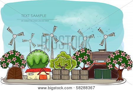Wind power generators and factory illustration
