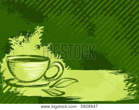 Horizontal grungy green tea background
