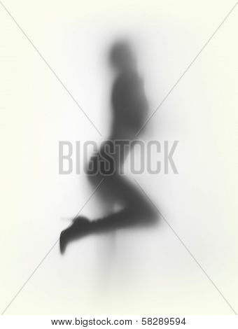 Slim woman with high heel shoes, silhouette