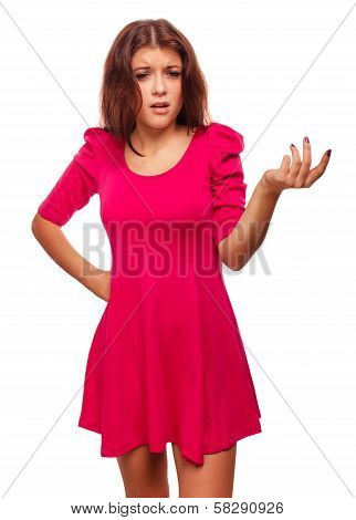 angry dissatisfied young woman haired girl in red dress emotion
