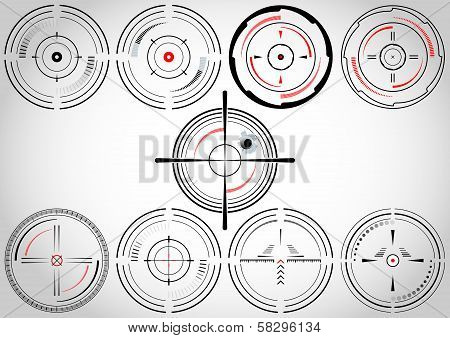 Set of nine crosshairs