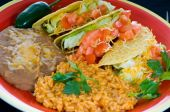 pic of mexican food  - A colorful Mexican food plate with tacos bean and rice - JPG
