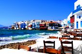 stock photo of greek-island  - Colorful Little Venice neighborhood of Mykonos island - JPG