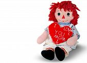 stock photo of rag-doll  - Old rag doll with red heart for mom isolated on white - JPG