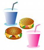 Two hamburgers with beverages