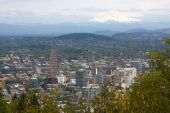 stock photo of portland oregon  - Portland city panorama with Mt - JPG