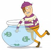 pic of piranha  - Illustration of a man stealing a money inside a jar full of piranhas - JPG