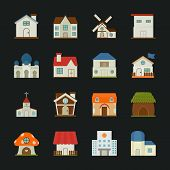 stock photo of suburban city  - City and town buildings icons flat design eps10 vector format - JPG