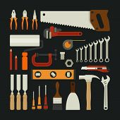 stock photo of hammer drill  - Hand tools icon set flat design eps10 vector format - JPG