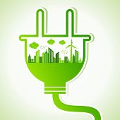 foto of wind-power  - Ecology concept with electric plug  - JPG