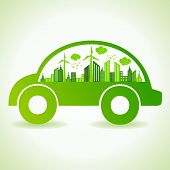 stock photo of reuse  - Ecology concept with eco car  - JPG