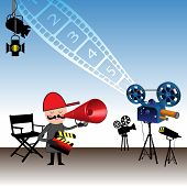 foto of crew cut  - Colorful illustration with movie director holding a clapboard and giving instructions through a megaphone - JPG