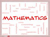 stock photo of fraction  - Mathematics Word Cloud Concept on a Whiteboard with great terms such as fractions algebra calculus and more - JPG