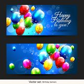 stock photo of helium  - Set of two horizontal birthday banners with flying baloons - JPG