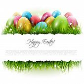 picture of easter decoration  - Easter background with eggs in grass and with copyspace - JPG