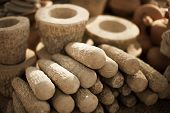 Stone Products On Market In Myanmar. Mortars And Pestles Close Up