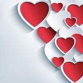 stock photo of valentines  - Stylish Valentines day background with 3d red and gray hearts - JPG