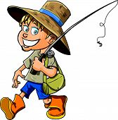 stock photo of fisherman  - Cartoon fisherman with a fishing rod - JPG