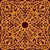 foto of arabian  - Arabian tile pattern in square format suitable as a seamless repeat pattern or tile in orange and brown - JPG