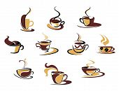 image of tens  - Ten different espresso coffee cups for fast food design - JPG