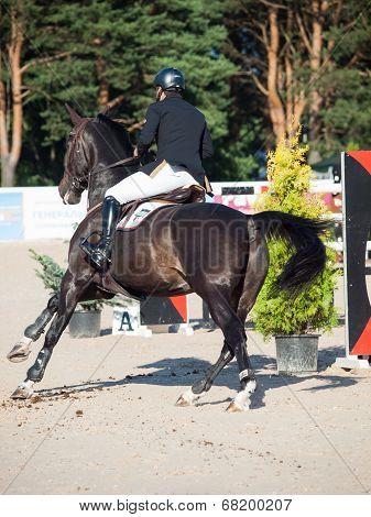 Saint Petersburg-july 05: Rider Mikhail Atoan On Caprille In The Csi3*-w/csiyh1* International Jumpi