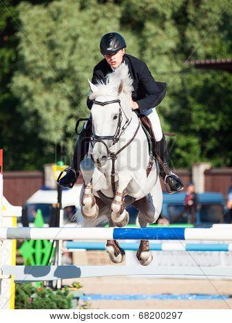 Saint Petersburg-july 05: Rider Matas Petraitis On Cattio In The Csi3*-w/csiyh1* International Jumpi