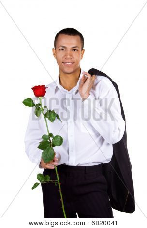 Young Men With The Red Rose On White